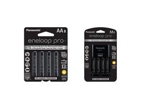 Panasonic  pro AA High Capacity Ni-MH Pre-Charged Rechargeable Batteries,8 Pack & Advanced Individual Cell Battery Charger Pack with 4 AA  pro High Capacity Ni-MH Rechargeable Batteries
