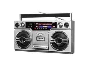 VBB10SLV 1980s Bluetooth Boombox with Cassette Player and AMFM Radio Silver