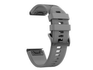 Compatible Fenix 5 Band 22mm Width Soft Silicone Watch Strap for Fenix 5Fenix 5 PlusFenix 6Fenix 6 ProForerunner 935Forerunner 945Approach S60Quatix 5Gray