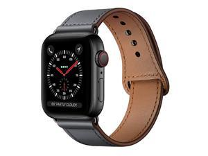 Compatible with iWatch Band 44mm 42mm Genuine Leather Replacement Band Strap Compatible with Apple Watch Series 5 4 3 2 1 42mm 44mm Dark Gray