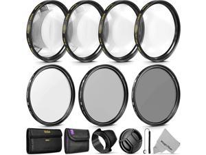 Professional UV CPL ND4 Lens Filter and CloseUp Macro Accessory Kit for Lenses with a Filter Size