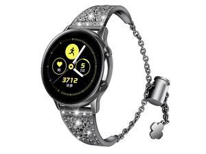 Compatible for Samsung Galaxy Watch 42mm Band 20MM Women Metal Rhinestone Diamond Chain Glitter Jewelry Bracelet Wristband Replacement Band for Samsung Galaxy Watch 42mm/Active 40mm/Gear Sport
