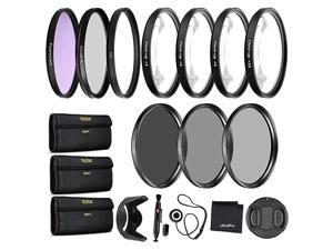 Precision 10PC Filter Kit Accessory Bundle Includes UV CPL FLD ND2 ND4 ND8 and 4 Macro Closeup Filters Lens Hood Cap Cases and More