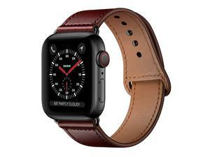 Compatible with iWatch Band 40mm 38mm Genuine Leather Replacement Band Strap Compatible with Apple Watch Series 5 4 3 2 1 38mm 40mm Reddish Brown