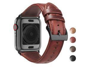 Leather Bands for Apple Watch Band 44mm 42mm 40mm 38mm with Case Men Women Replacement Genuine Leather Strap for iWatch Series 5 4 3 2 1 Sport and Edition