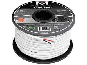 16AWG 2Conductor Speaker Wire 100 Feet White 999 Oxygen Free Copper ETL Listed CL2 Rated for inWall Use Part SW16X2100WH