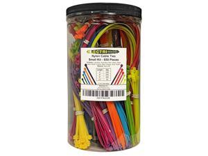 Nylon Cable Tie Kit 650 Zip Ties Multi Color Blue Red Green Yellow Fuchsia Orange Gray Purple Assorted Lengths 4 6 8 11