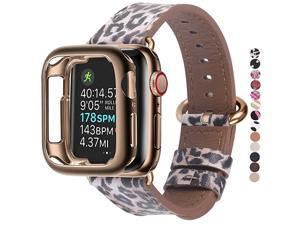 Compatible Apple Watch Band 38mm 40mm with CaseWomen Genuine Leather Strap with Bronze Gold Adapter and Buckle for iwatch Series 54321 Leopard