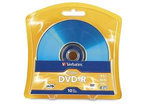 DVDR 47GB 16x AZO Recordable Media Disc 10 Disc Blister Assorted Colors 97513