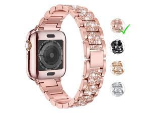 for Apple Watch Band 38mm 40mm 42mm 44mm Series 5 Series 4 3 2 1 with Case Bling Replacement Bracelet iWatch Band Diamond Rhinestone Stainless Steel Metal Wristband Strap