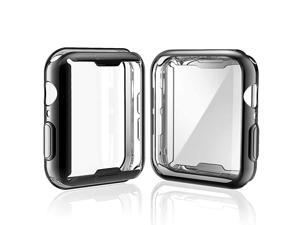 2Pack  Case for Apple Watch Series 6 SESeries 5 Series 4 Screen Protector 44mm Overall Protective Case TPU HD UltraThin Cover 1 Black+1 Transparent