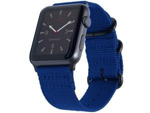 Compatible with Apple Watch Band 42mm 44mm Nylon NATO Sport iWatch Bands Replacement Woven Canvas Strap Rugged Steel Adapters Loop Buckle for Series 4 Series 3 2 1 42 44 SML Blue