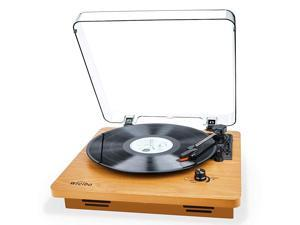 Record Player Vintage Turntable 3Speed Belt Drive Vinyl Player LP Record Player with Builtin Stereo Speaker Auxin Headphone Jack and RCA Output Natural Wood