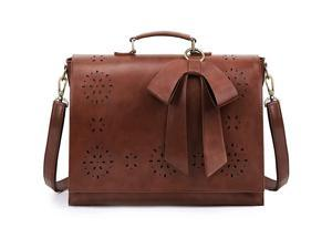 Womens Briefcase Vegan Leather 156 inch Laptop Bag for School Shoulder Computer Satchel Bag with Detachable Bow Coffee