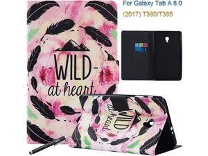 Samsung Galaxy Tab A 80 2017 Case  Slim Auto SleepWake Portfolio Case Flip Stand Cover for Samsung Galaxy Tab A 80 Inch 2017 SMT385 4GLTE T380 WiFi Tablet BlackPink Feather