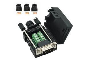 DB9 RS232 DSUB Male Serial Adapter 9pin Port Adapter to Terminal Signal Module with caseMale DB9 5+5 with case A