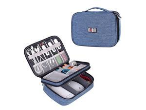 Electronic Organizer Double Layer Travel Gadget Storage Bag for Cables Cord USB Flash Drive Power Bank and Morea Sleeve Pouch for 79 iPad Mini MediumDenim Blue