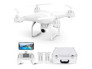 T25 Drone with 2K Camera for Adults, RC FPV GPS Drone with WiFi Live Video, Auto Return Home, Altitude Hold, Follow Me, Custom Flight Path, 2 Drone Batteries and Carrying Case