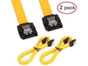 2Pack 32in Long SATA Cable 6gb Straight with Locking LatchYellow