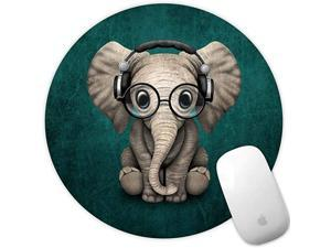 Mouse Pad Green Pattern Headset Music Elephant Mousepad NonSlip Rubber Gaming Mouse Pad Round Mouse Pads for Computers Laptop