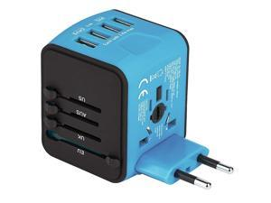 Universal Travel Adapter, All-in-one Worldwide Travel Charger Travel Socket, International Power Adapter with 4 USB Ports, AC Plug for US EU UK AU & Asian Countries, Blue
