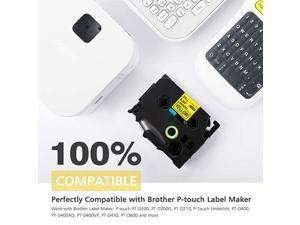 Compatible 094 Inch Label Tape Replacement for Brother PTouch TZe651 Label Tape TZe651 Laminated 24mm Yellow TZe Tape for Ptouch Label Maker PTD600 PTP710BT PT2430PC 1 Inch x 262 Feet