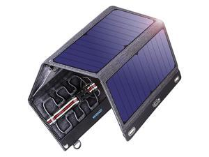 Solar Charger Solar Panel 29W Solar Panel with Dual USB Ports 12V DC Output Current Display Function Waterproof Outdoor Portable Solar Panel Camping Travel for CellphoneTabletCamera etc