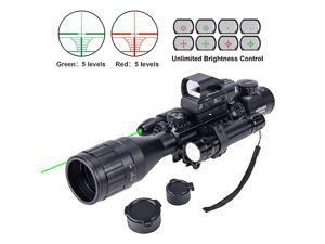 4-16x50 AO Rifle Scope Combo with Green Laser, Reflex Sight, and 5 Brightness Modes Flashlight