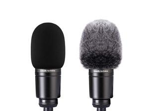 Microphone Foam Cover + Furry Windscreen Wind Muff Compatible with Mic Audio Technica AT2020 ATR2500 AT2035 AT2050 AT4040 Cardioid Condenser Microphone Noise Reduction