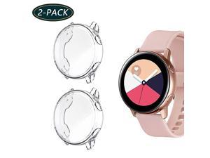 2Pack  for Samsung Galaxy Watch Active 1 Screen Protector AllAround TPU AntiScratch Flexible Case Soft Protective Bumper Cover for Galaxy Watch Active 40mm Smartwatch ClearClear