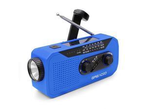 Weather AMFM NOAA Solar Crank Radio with Bright Flashlight 2000mAh Power Bank Headphone Jack for Hazard Weather and Outdoor Activitives Blue