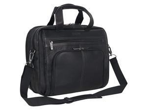 Colombian Leather Dual Compartment Expandable 156 Laptop Portfolio Black
