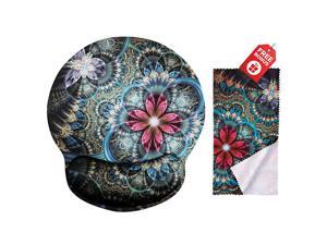 Fractal Florals Ergonomic Design Mouse Pad with Wrist Rest Hand Support Round Large Mousing Area Matching Microfiber Cleaning Cloth for Glasses amp Screens Great for Gaming amp Work
