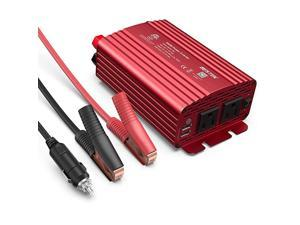 500W Power Inverter DC 12V to 110V AC Converter with Alligator Battery Clamp 48A Dual USB Car Charger ETL Listed