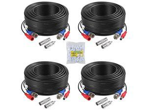 4 Pack 30M100ft AllinOne Video Power Cables BNC Extension Surveillance Camera Cables for CCTV Security DVR System Installation Free BNC RCA Connector and 100pcs Cable Clips Included Black