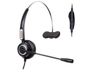 Volume and Mute Switch Telephone Headset for Yealink T21 T42 etc Avaya 1608 9640 9620 9630 9640 Grandstream GXP1400 2120 etc Panasonic KXT IP Phones
