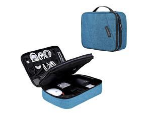 Electronic Organizer Double Layer Travel Cable Organizer Cases Electronics Accessories Storage Bag for 105 Inch iPad Pro iPad air Cables Kindle Teal