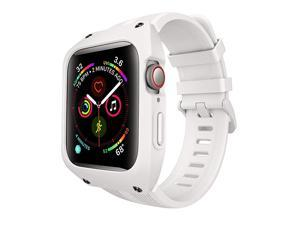 Compatible with Apple Watch Bands 44mm Series 654 Apple Watch SE 44mm Band Sport Soft Silicone Band with Protective Case Men Women for Apple Watch SE iWatch Series 654 44mm White