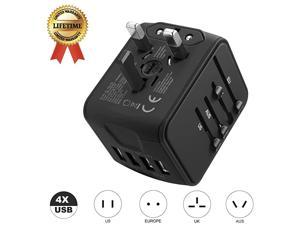 Travel Adapter Universal Power Adapter Worldwide All in One 4 USB with Electrical Plug Perfect for European US EU UK AU 160 Countries Black