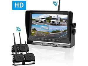 FHD 1080P Digital Wireless 4 Backup Camera Kit 7'' DVR Monitor Split Screen Highway Observation System for Trailers,RVs,Trucks, 5th Wheels