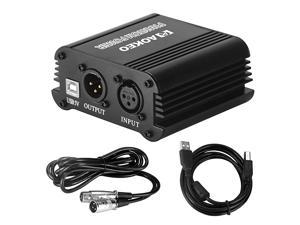 48V Phantom Power Supply Powered by USB plug in included with 8 feet USB Cable BONUS + XLR 3 Pin Microphone Cable for Any Condenser Microphone Music Recording Equipment