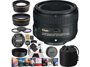 50mm f18G AFS FX NIKKOR Lens Digital SLR Cameras Bundle with Photo and Video Professional Editing Suite Cleaning Kit for DSLR Cameras 58mm Filter Kit and Accessories 8 Items