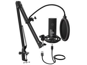 Studio Condenser USB Microphone Computer PC Microphone Kit with Adjustable Scissor Arm Stand Shock Mount for Instruments Voice Overs Recording Podcasting YouTube Karaoke Gaming StreamingT669