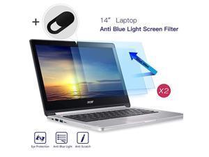 14 Screen Filter Anti Blue Light Anti Glare Screen Protector for Lenovo Flex 14Acer Chromebook 14 HP Chromebook 14 Dell Latitude 14 HP Stream 14 Acer Spin 3 14 With Webcam Cover