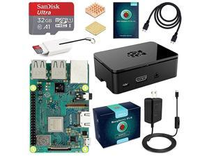 Raspberry Pi 3 B+ Complete Starter Kit with Model B Plus Motherboard 32GB Micro SD Card NOOBS 5V 3A OnOff Power Supply Premium Black Case HDMI Cable SD Card Reader with USB AampUSB C Heatsink