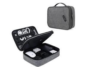 Electronic Organizer Double Layer Travel Cable Organizer Cases Electronics Accessories Storage Bag for 105 Inch iPad Pro iPad air Cables Kindle Grey