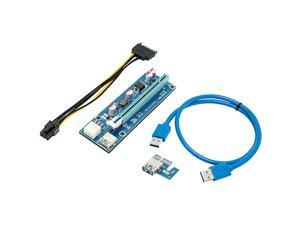 Card Riser Card PCIe PCI Express 16x to 1x Riser Adapter USB 30 Extension Cable 60cm 6 pin PCIE to SATA Power Cable GPU Riser Adapter Ethereum Riser Card