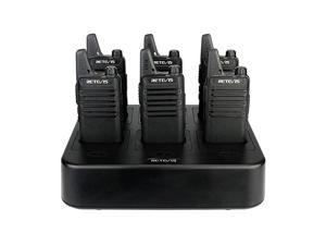 RT22 Walkie Talkies Rechargeable Hands Free Channel Lock 2 Way Radios TwoWay Radio6 Pack with 6 Way Multi Gang Charger