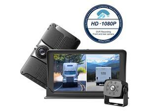 Backup & Front Camera with 7'' Monitor,Dash Camera Front and Rear View Cam DVR with 1080P,Advanced Recording Function,IP69 Waterproof,Night Vision for RV/Pickup/Truck/Trailer/Bus