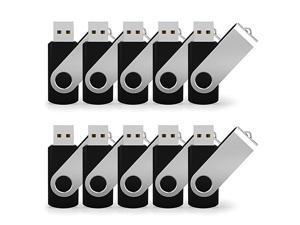 10 Pack USB 20 Flash Drive 4GB Thumb Drive Jump Drive Fold Storage Swivel Memory Stick with Key Ring Design Portable Pen Drive Black